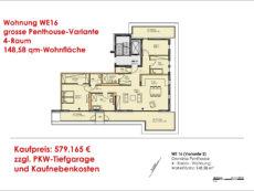 Einzelgrundriss WE 16 grosse Penthouse-Variante